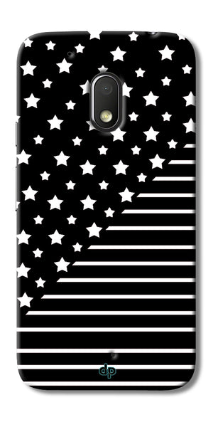 Digiprints Star And Strips On Black Printed Back Case Cover For Motorola Moto G4 Play