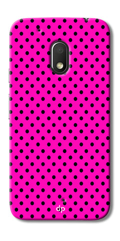 Digiprints Black Dotted Design Pink Printed Back Case Cover For Motorola Moto G4 Play