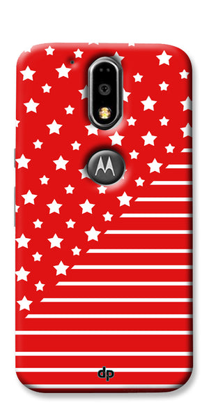 Digiprints Star And Strips On Red Printed Back Case Cover For Motorola Moto G4 Plus
