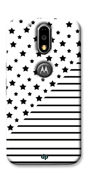 Digiprints Star And Strips On White Printed Back Case Cover For Motorola Moto G4 Plus