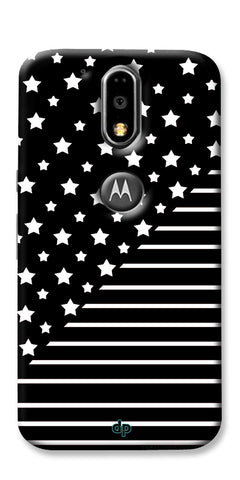 Digiprints Star And Strips On Black Printed Back Case Cover For Motorola Moto G4 Plus