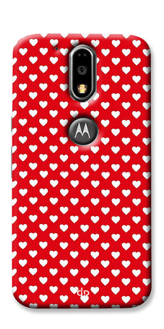 Digiprints Small Hearts On Red Design Printed Back Case Cover For Motorola Moto G4 Plus