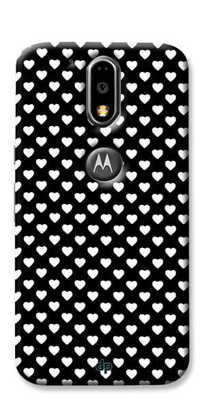Digiprints Small Hearts On Black Design Printed Back Case Cover For Motorola Moto G4 Plus