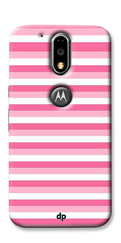 Digiprints Pink And White Strips Printed Back Case Cover For Motorola Moto G4 Plus