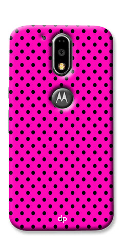 Digiprints Black Dotted Design Pink Printed Back Case Cover For Motorola Moto G4 Plus