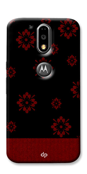 Digiprints Red Flower Pattern Back Case Cover For Motorola Moto G4 Plus