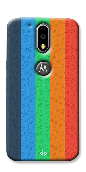 Digiprints Social Signs Colourful Pattern Back Case Cover For Motorola Moto G4 Plus