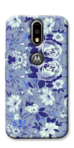 Digiprints Beautiful Blue Flowers Vector Design Back Case Cover For Motorola Moto G4 Plus