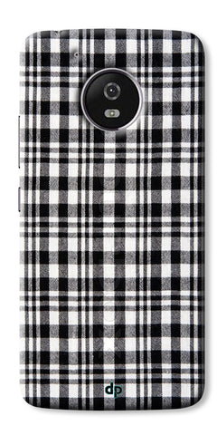 Digiprints Black Checks Printed Designer Back Case Cover For Motorola Moto G5 Plus