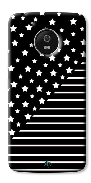 Digiprints Star And Strips On Black Printed Back Case Cover For Motorola Moto G5 Plus