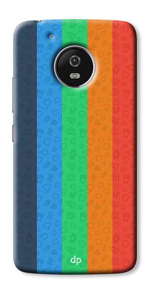 Digiprints Social Signs Colourful Pattern Back Case Cover For Motorola Moto G5 Plus