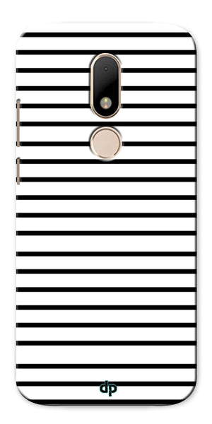 Digiprints Black Horizontal Strips Designer Printed Back Case Cover For Motorola Moto M