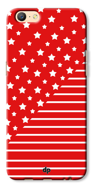 Digiprints Star And Strips On Red Printed Back Case Cover For Oppo A57