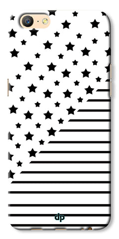 Digiprints Star And Strips On White Printed Back Case Cover For Oppo A57