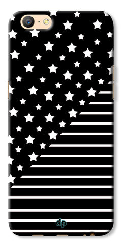 Digiprints Star And Strips On Black Printed Back Case Cover For Oppo A57