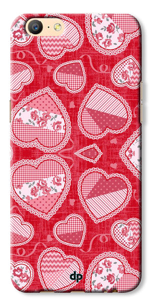 Digiprints Beautiful Pink Heart Design Printed Back Case Cover For Oppo A57