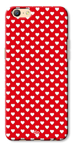Digiprints Small Hearts On Red Design Printed Back Case Cover For Oppo A57