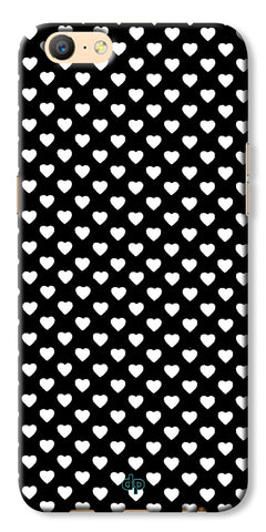Digiprints Small Hearts On Black Design Printed Back Case Cover For Oppo A57