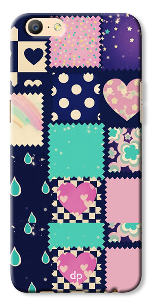 Digiprints Love Mix Pattern Printed Back Cover For Oppo A57