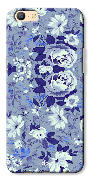 Digiprints Beautiful Blue Flowers Vector Design Back Case Cover For Oppo A57