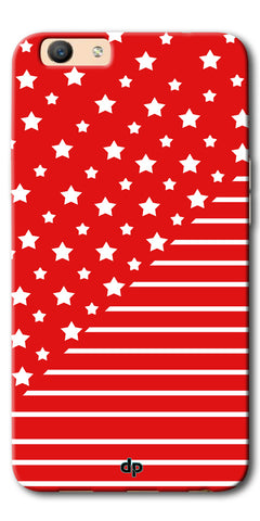 Digiprints Star And Strips On Red Printed Back Case Cover For Oppo F1s