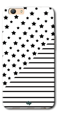 Digiprints Star And Strips On White Printed Back Case Cover For Oppo F1s