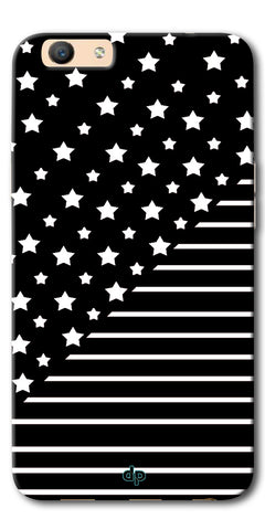 Digiprints Star And Strips On Black Printed Back Case Cover For Oppo F1s