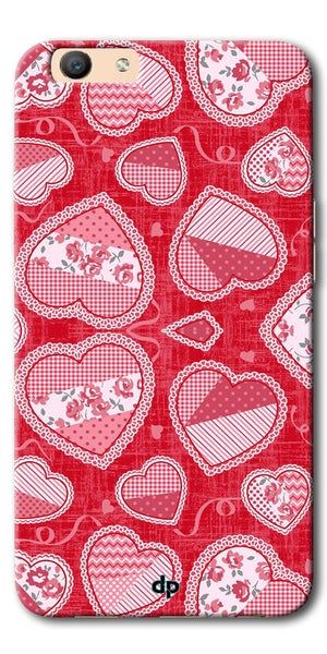 Digiprints Beautiful Pink Heart Design Printed Back Case Cover For Oppo F1s