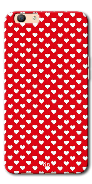 Digiprints Small Hearts On Red Design Printed Back Case Cover For Oppo F1s