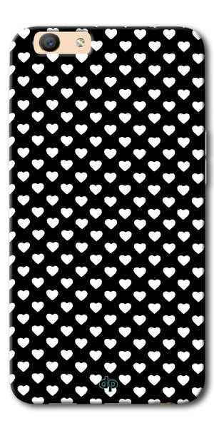 Digiprints Small Hearts On Black Design Printed Back Case Cover For Oppo F1s