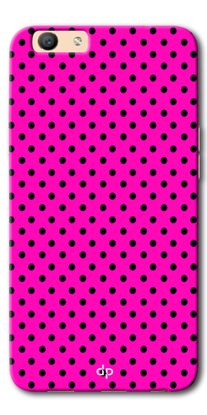 Digiprints Black Dotted Design Pink Printed Back Case Cover For Oppo F1s