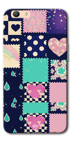 Digiprints Love Mix Pattern Printed Back Cover For Oppo F1s
