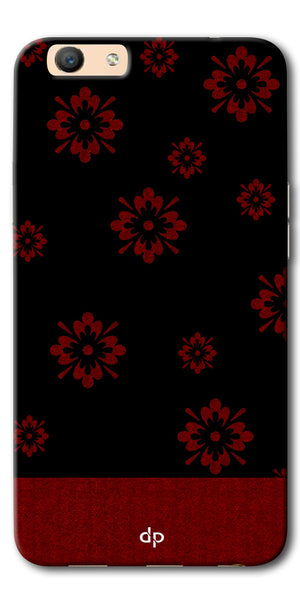 Digiprints Red Flower Pattern Back Case Cover For Oppo F1s