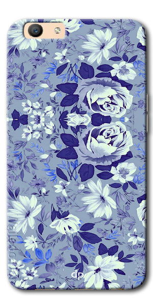 Digiprints Beautiful Blue Flowers Vector Design Back Case Cover For Oppo F1s