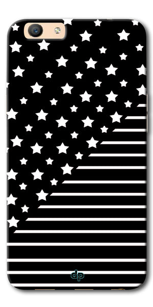 DigiprintsStar And Strips On Black Printed Back Case Cover For Oppo F3