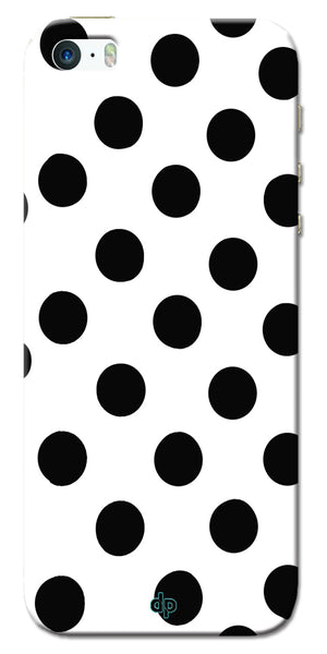 Digiprints Black Polka Dots Printed Back Case Cover For Apple iPhone 5S