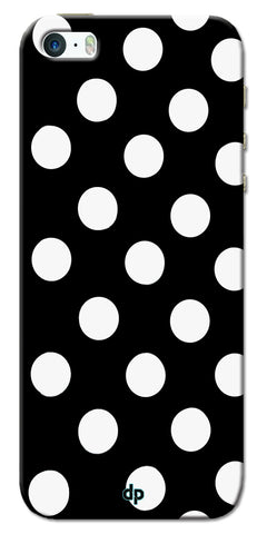 Digiprints White Polka Dots Printed Back Case Cover For Apple iPhone 5