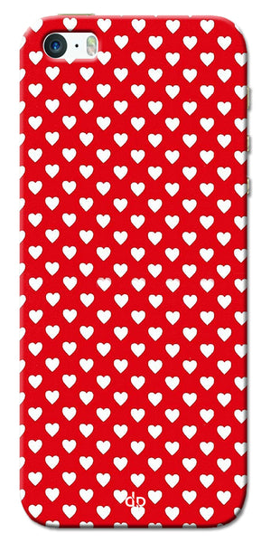 Digiprints Small Hearts On Red Design Printed Back Case Cover For Apple iPhone 5