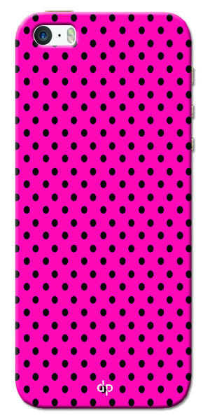 Digiprints Black Dotted Design Pink Printed Back Case Cover For Apple iPhone 5