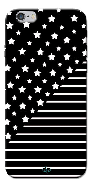 Digiprints Star And Strips On Black Printed Back Case Cover For Apple iPhone 6
