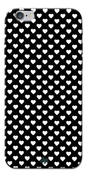 Digiprints Small Hearts On Black Design Printed Back Case Cover For Apple iPhone 6