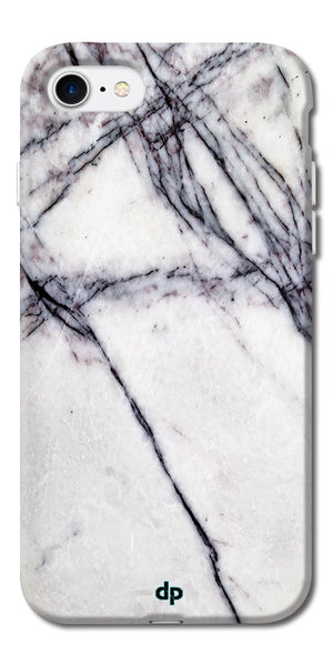 Digiprints White Marble Design 5 Printed Designer Back Case Cover For Apple iPhone 7
