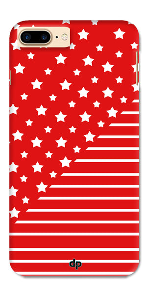Digiprints Star And Strips On Red Printed Back Case Cover For Apple iPhone 7 Plus