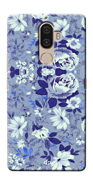Digiprints Beautiful Blue Flowers Vector Design Back Case Cover For Lenovo K8 Plus