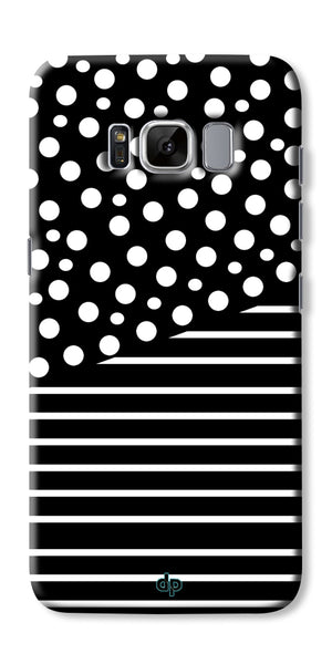 Digiprints White Strips And Dots Printed Back Case Cover For Samsung Galaxy S8 Plus