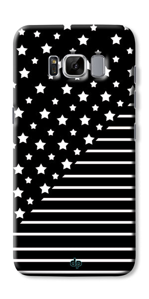 Digiprints Star And Strips On Black Printed Back Case Cover For Samsung Galaxy S8 Plus