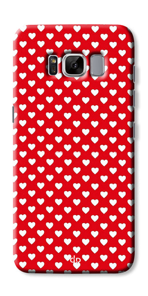 Digiprints Small Hearts On Red Design Printed Back Case Cover For Samsung Galaxy S8 Plus