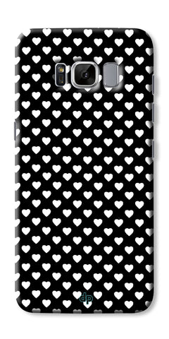 Digiprints Small Hearts On Black Design Printed Back Case Cover For Samsung Galaxy S8 Plus