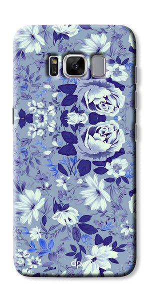 Digiprints Beautiful Blue Flowers Vector Design Back Case Cover For Samsung Galaxy S8
