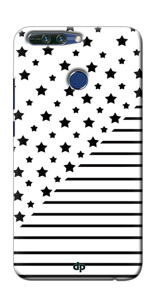 Digiprints Star And Strips On White Printed Back Case Cover For Huawei Honor 8 Pro